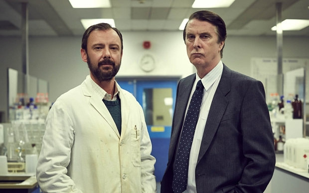 WORLDWIDE PRODUCTIONS PRESENT CODE OF A KILLER EPISODE 1 Pictured: DAVID THRELFALL as DCS David Baker and JOHN SIMM as Alec Jeffreys. Photographer: Robert Viglasky. This image is the copyright of ITV and must only be used in relation to CODE OF A KILLER. The images are for one use only, any further use must be checked with the ITV Picture Desk.