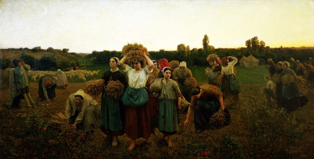 XIR34817 Calling in the Gleaners, 1859 (oil on canvas) by Breton, Jules (1827-1906); 90x176 cm; Musee d'Orsay, Paris, France; Giraudon; French, out of copyright
